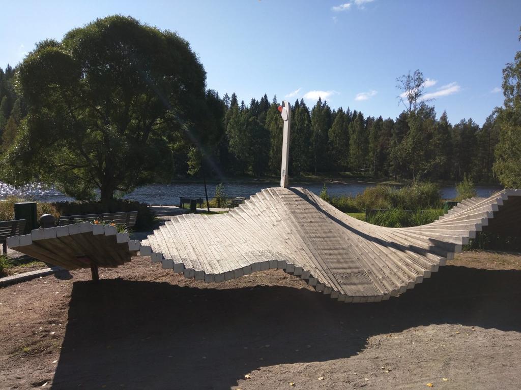 A wooden swan in Kangaslampi park, Jyväskylä, Finland